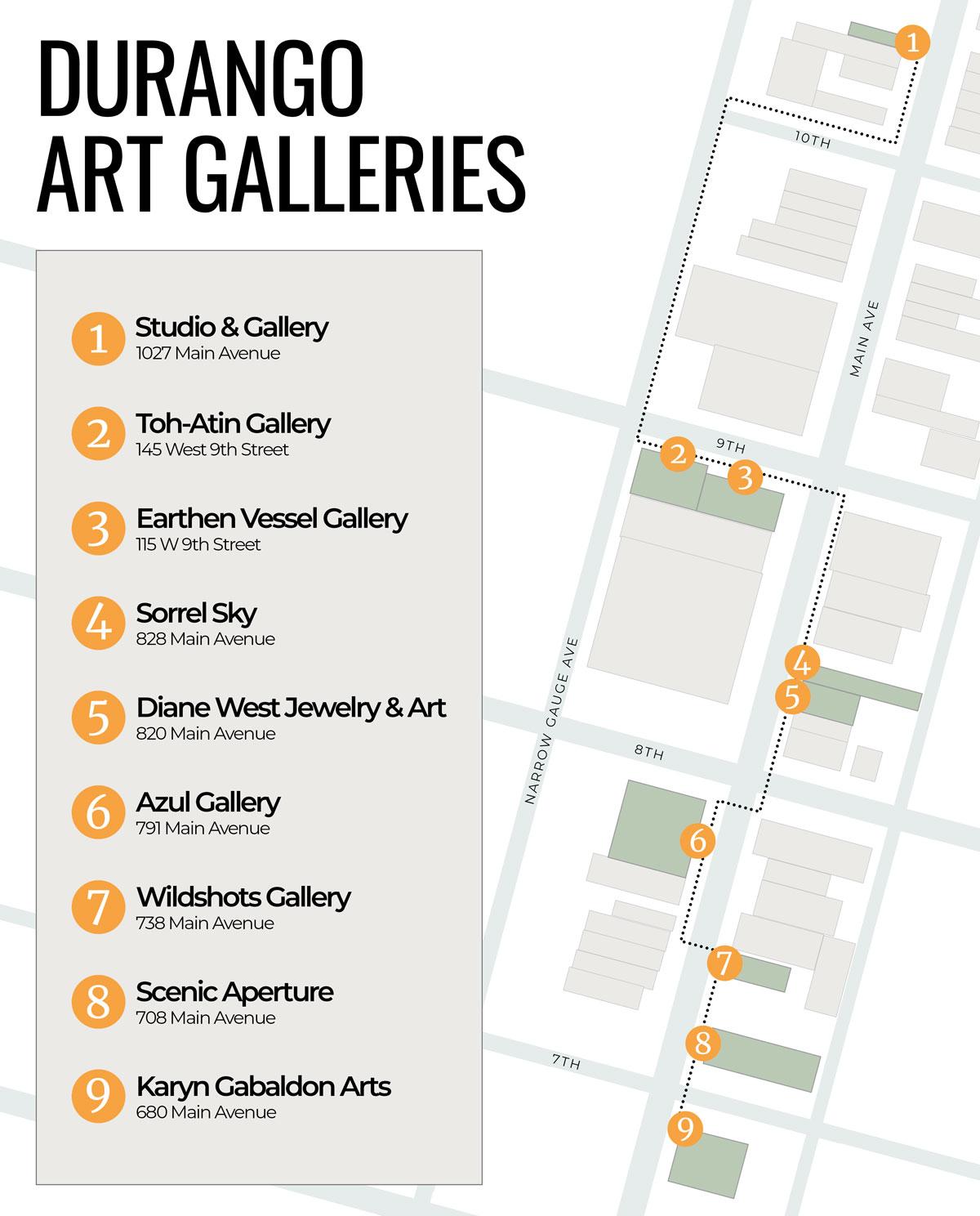 Map of Durango art galleries