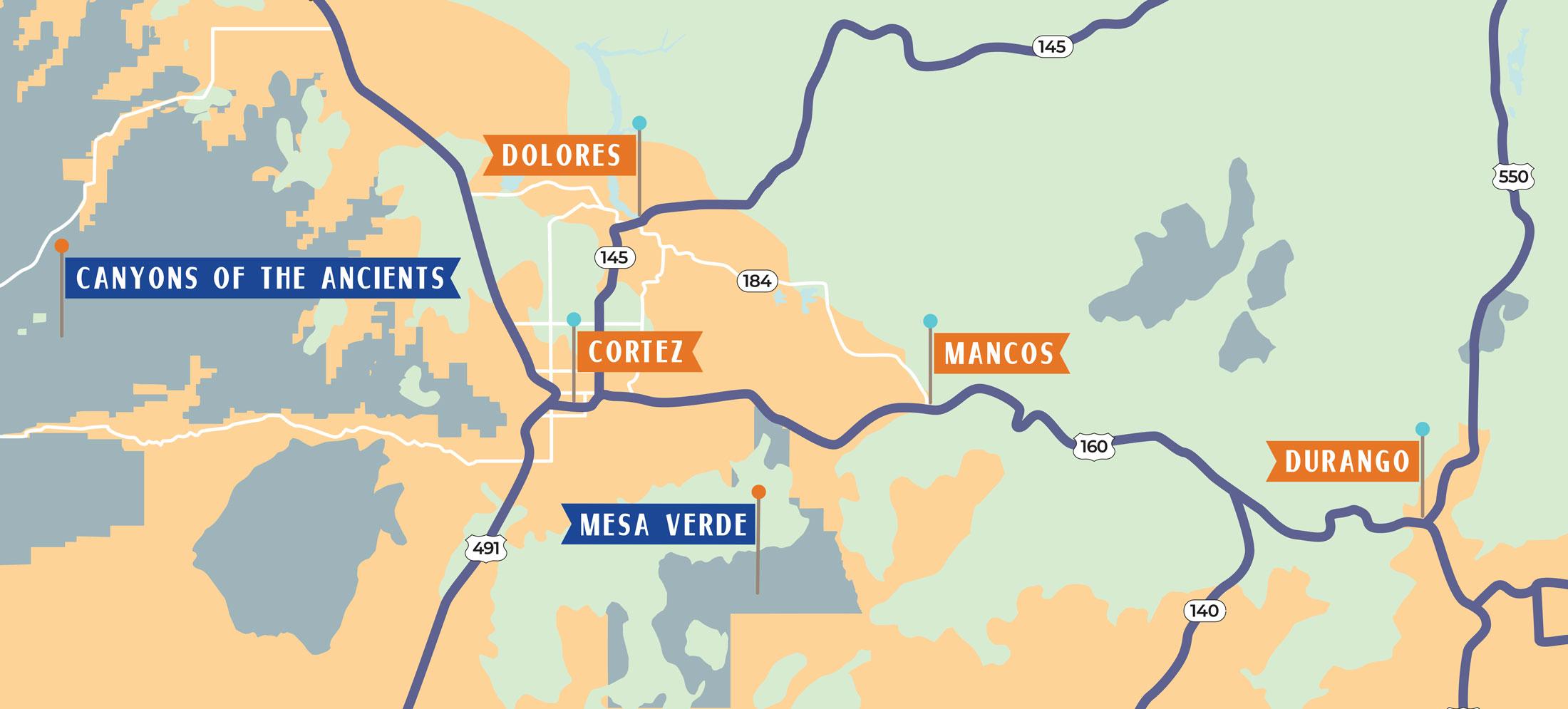 Ancient ruin locations based on proximity to Durango